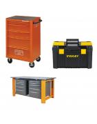 Įrankių dėžės, spintelės, darbastaliai, karučiai